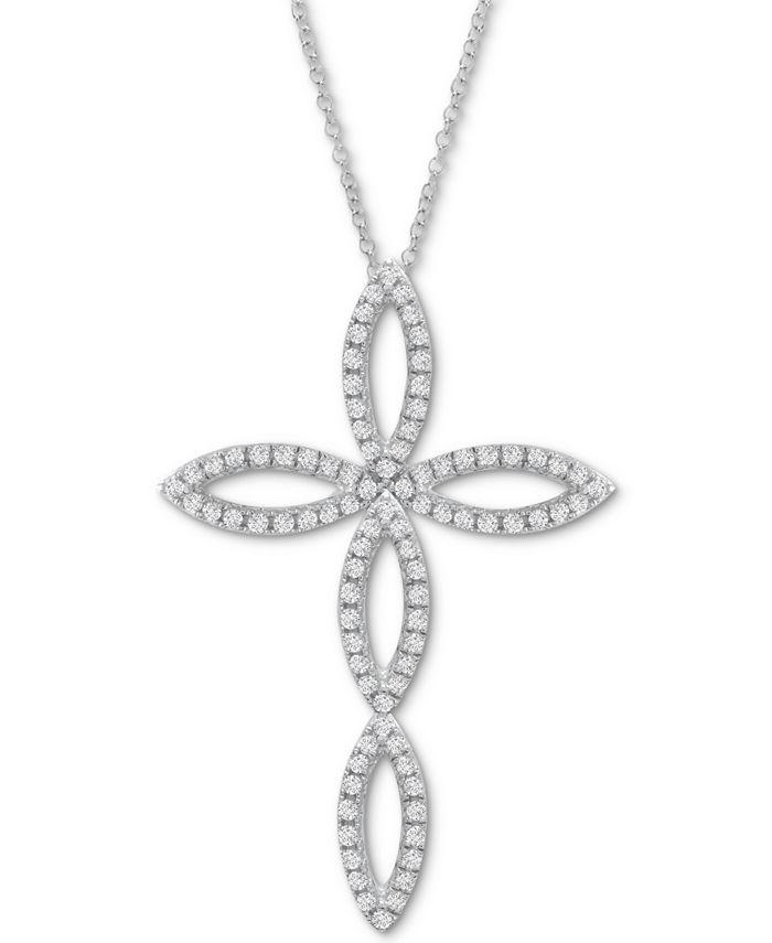 "Macy's - Diamond Cross 20"" Pendant Necklace (1/2 ct. t.w.) in 14k White Gold"