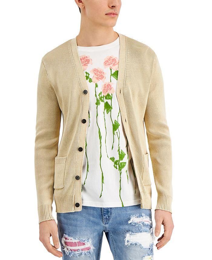 INC International Concepts - Men's Stonewashed Cardigan Sweater