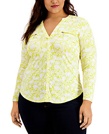INC Plus Size Floral Zipper Pocket Blouse, Created for Macy's