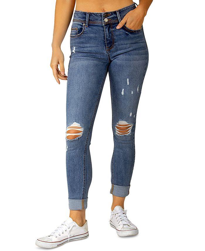 Indigo Rein - Juniors' Cuffed Destructed Jeans
