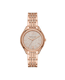 Michael Kors Women's Mindy Three-Hand Rose Gold-Tone Stainless Steel Bracelet Watch 36mm