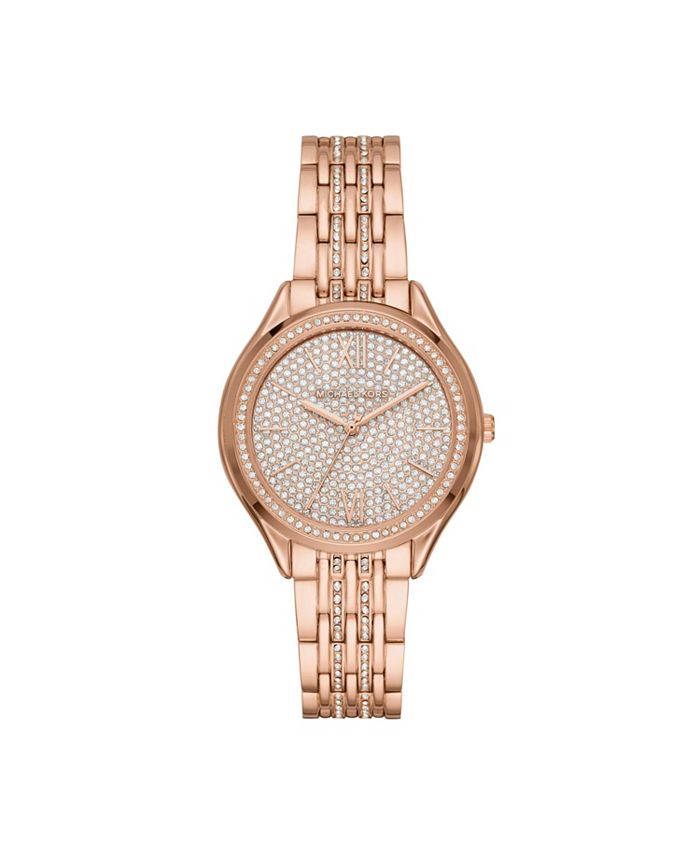Michael Kors - Women's Mindy Three-Hand Rose Gold-Tone Stainless Steel Bracelet Watch 36mm