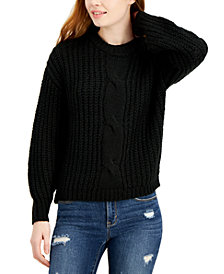 Belle Du Jour Juniors' Cable-Knit Balloon-Sleeve Sweater