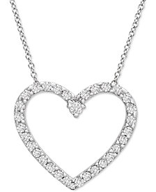 "Platinum By Wrapped in Love Diamond Heart 20"" Pendant Necklace (1/2 ct. t.w.) in Platinum, Created for Macy's"
