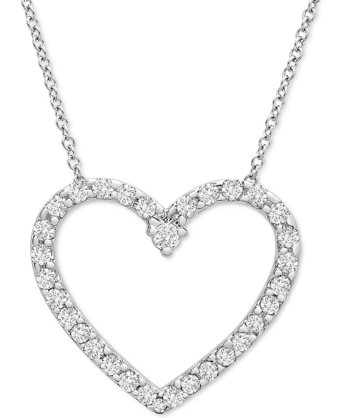 "Wrapped in Love - Diamond Heart 20"" Pendant Necklace (1/2 ct. t.w.) in Platinum"