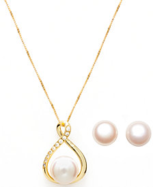 Cultured Freshwater (10-11mm) Pearl Pendant and Stud Set in 18k Gold over Sterling Silver.