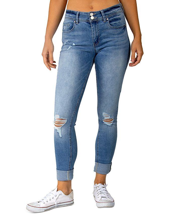 Indigo Rein - Juniors' Ripped Cuffed Jeans