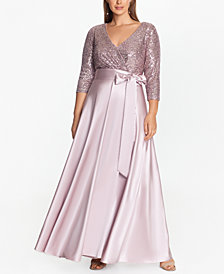 XSCAPE Plus Size Sequin-Top Ball Gown