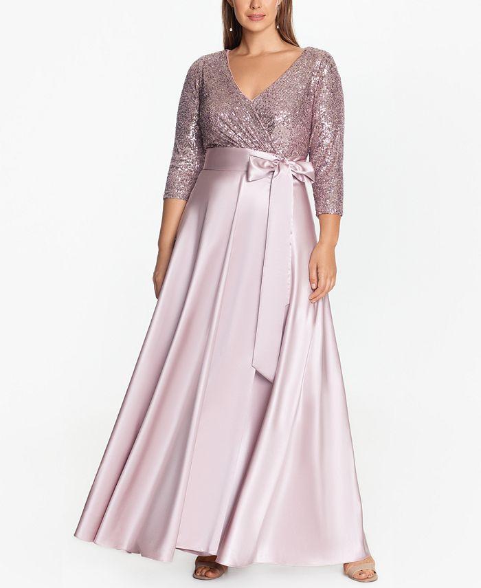 XSCAPE - Plus Size Sequin-Top Ball Gown