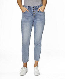 Juniors' Super High Rise Exposed Button MOM Jeans