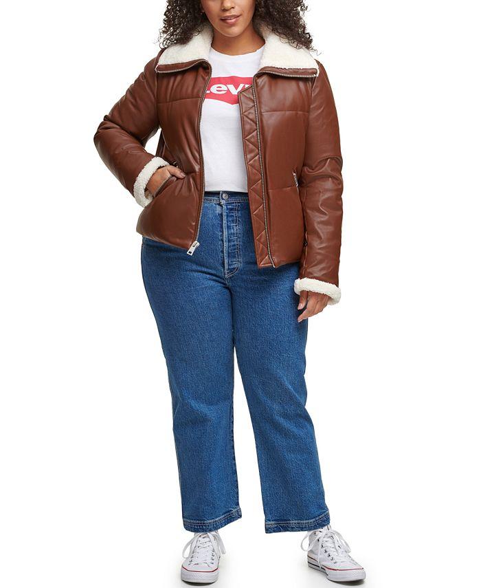 Levi's - Plus Size Fleece-Trimmed Faux-Leather Puffer Jacket