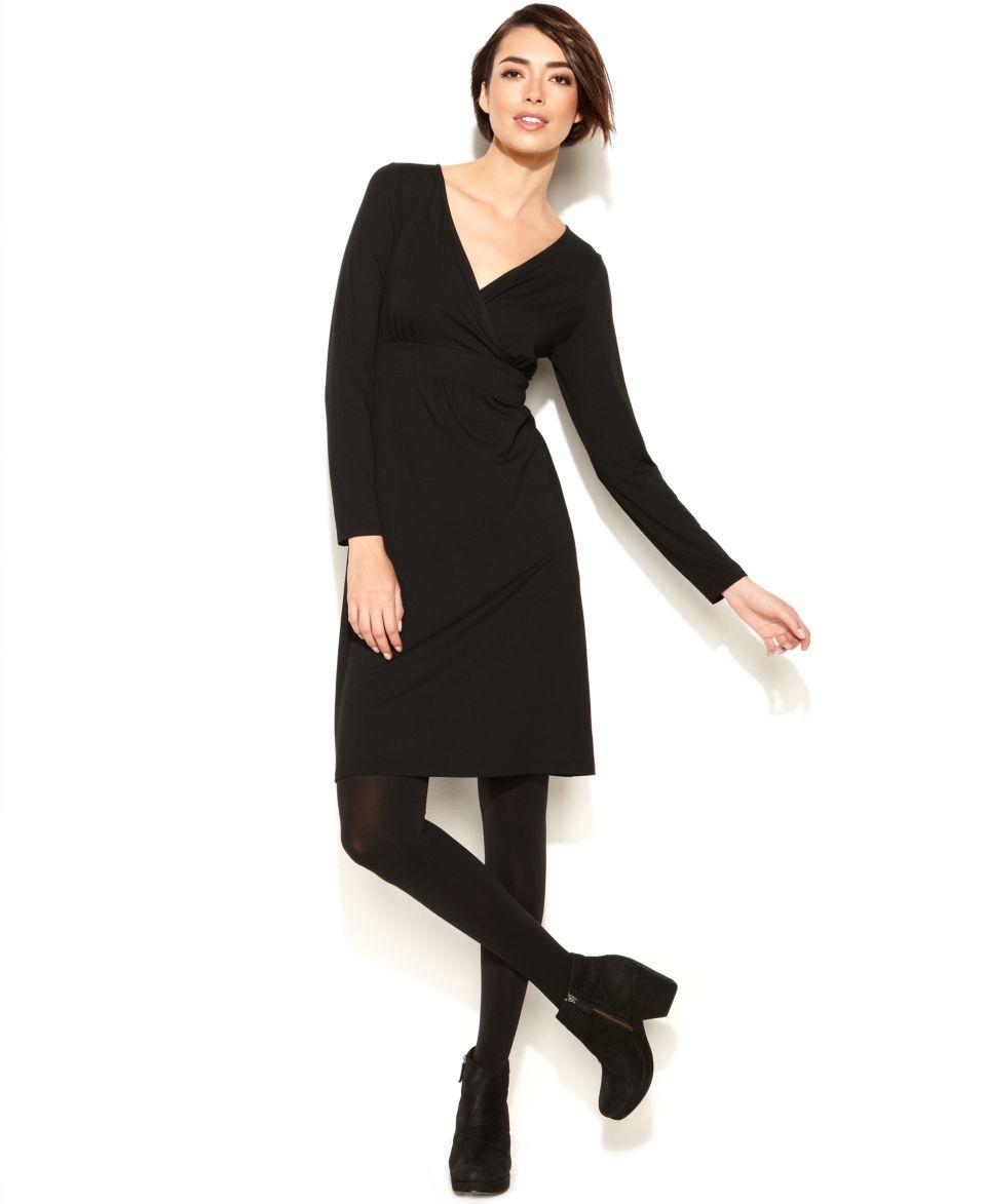 Eileen Fisher Long Sleeve Surplice Dress   Dresses   Women
