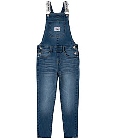 Calvin Klein Big Girls Logo Skinny Denim Overall