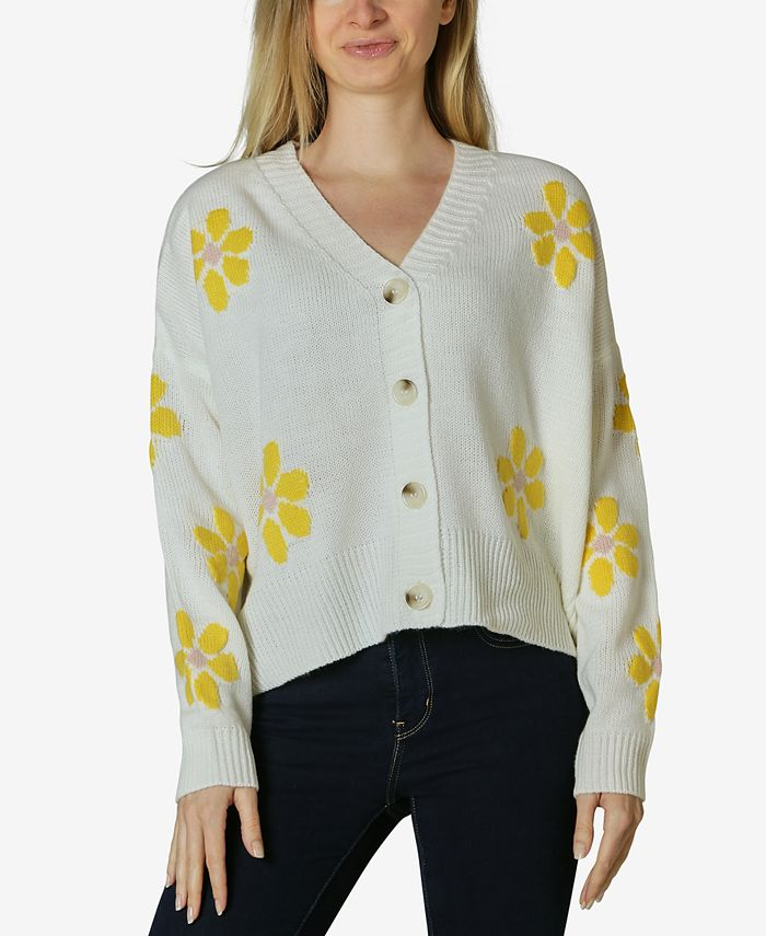 Polly & Esther - Juniors' Daisies Button-Front Cardigan