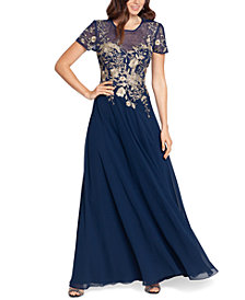 Betsy & Adam Beaded Embroidery-Trim Gown