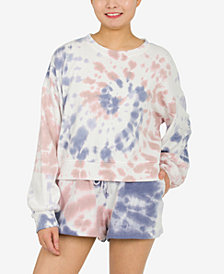Hippie Rose Juniors' Tie-Dyed Balloon-Sleeve Sweatshirt