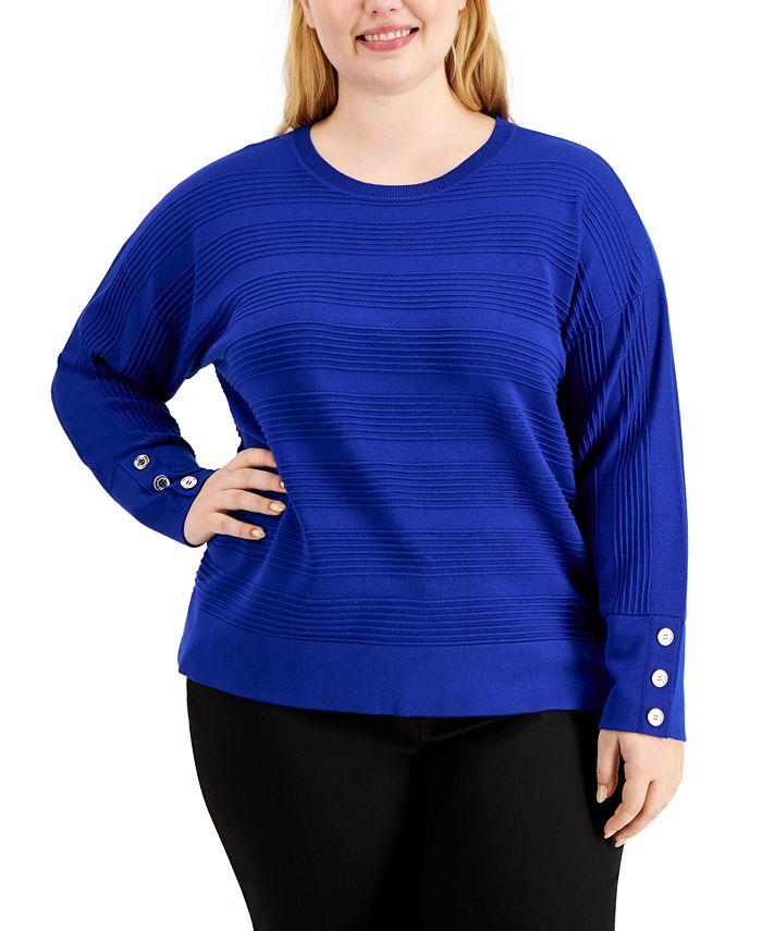 Calvin Klein - Plus Size Textured Dolman-Sleeve Sweater