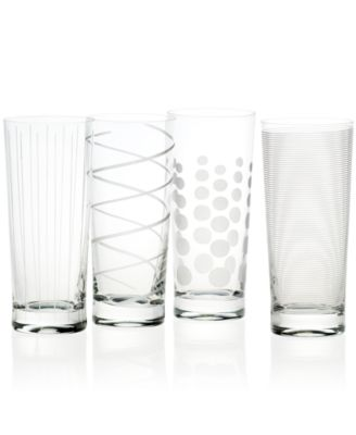 Cheers Patterned Highball Glasses, Set of 4
