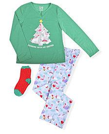 Big Girls Christmas 2 Piece Pajama Set with Cozy Socks