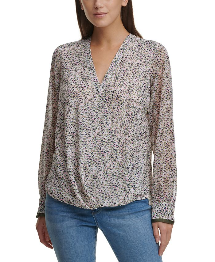 DKNY - Printed Faux-Wrap Top