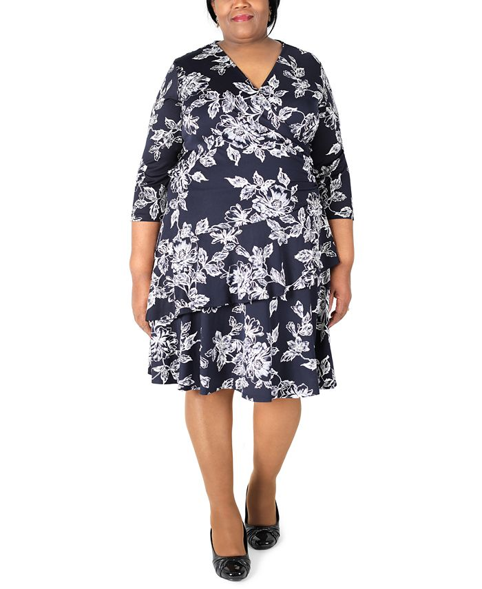 Robbie Bee - Plus Size Printed Ruffle Fit & Flare Dress
