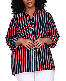Michael Michael Kors Plus Size Striped Tunic Shirt