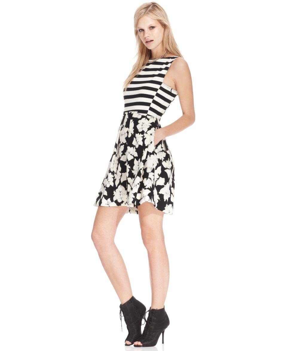 RACHEL Rachel Roy Striped Floral Print Dress   Dresses   Women