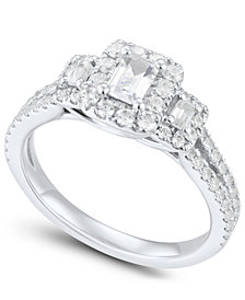 Diamond Emerald-Cut Engagement Ring (1 ct. t.w.) in 14k White Gold