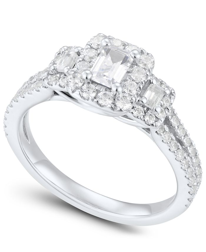 Macy's - Diamond Emerald-Cut Engagement Ring (1 ct. t.w.) in 14k White Gold