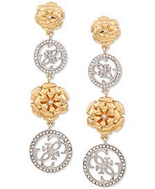 GUESS Pavé & Flower Quatro G Linear Drop Earrings