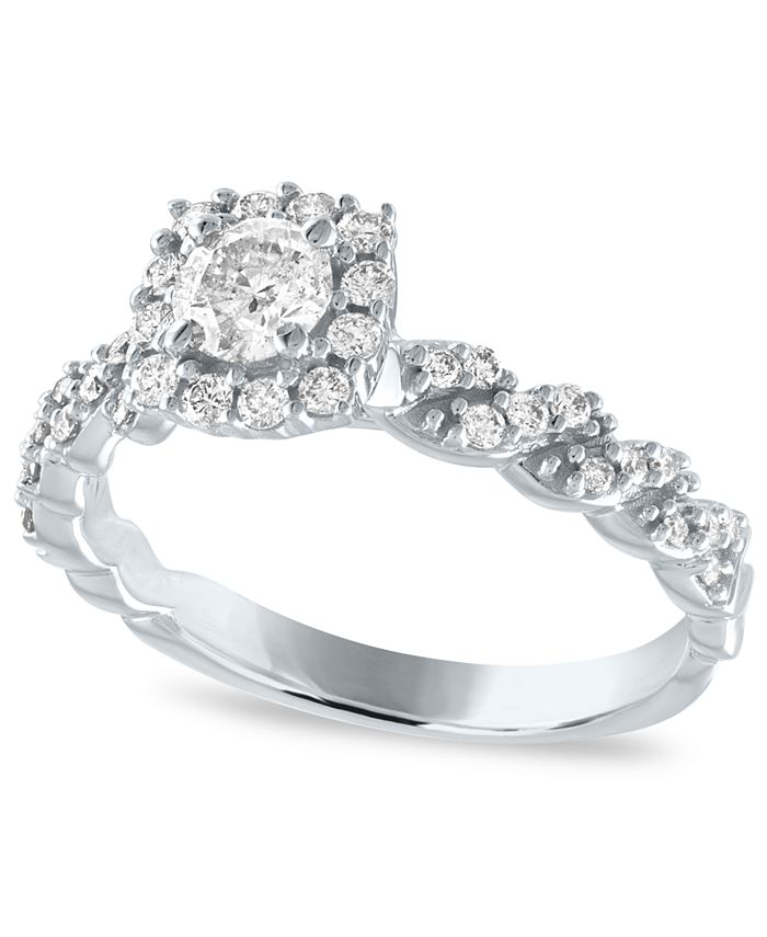 Macy's - Diamond Cushion Halo Engagement Ring (5/8 ct. t.w.) in 14k White Gold