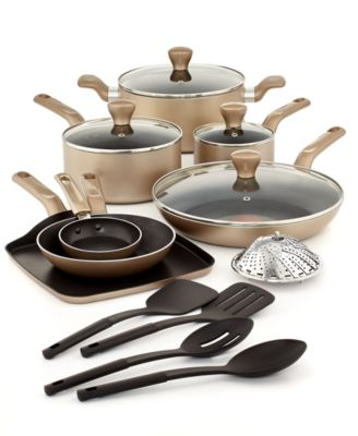 T-Fal Culinaire Champagne 16-Pc. Cookware Set