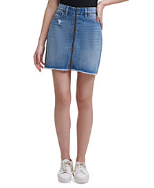 Calvin Klein Jeans Zip-Front High-Rise Denim Skirt