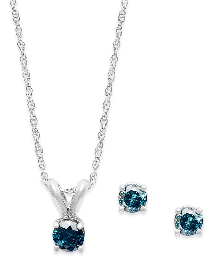 Macy's - 10k White Gold Blue Diamond Necklace and Earring Set (1/4 ct. t.w.)