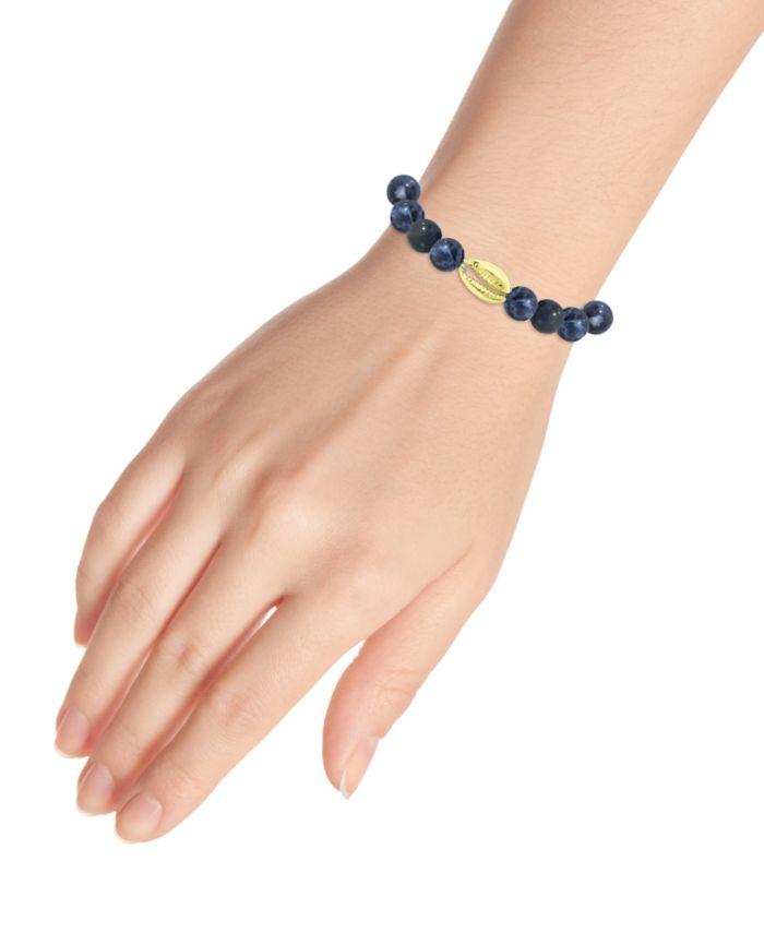 Macy's Genuine Stone Bead Puka Cowrie Shell Stretch Bracelet in Fine Silver Plate & Reviews - Bracelets - Jewelry & Watches - Macy's