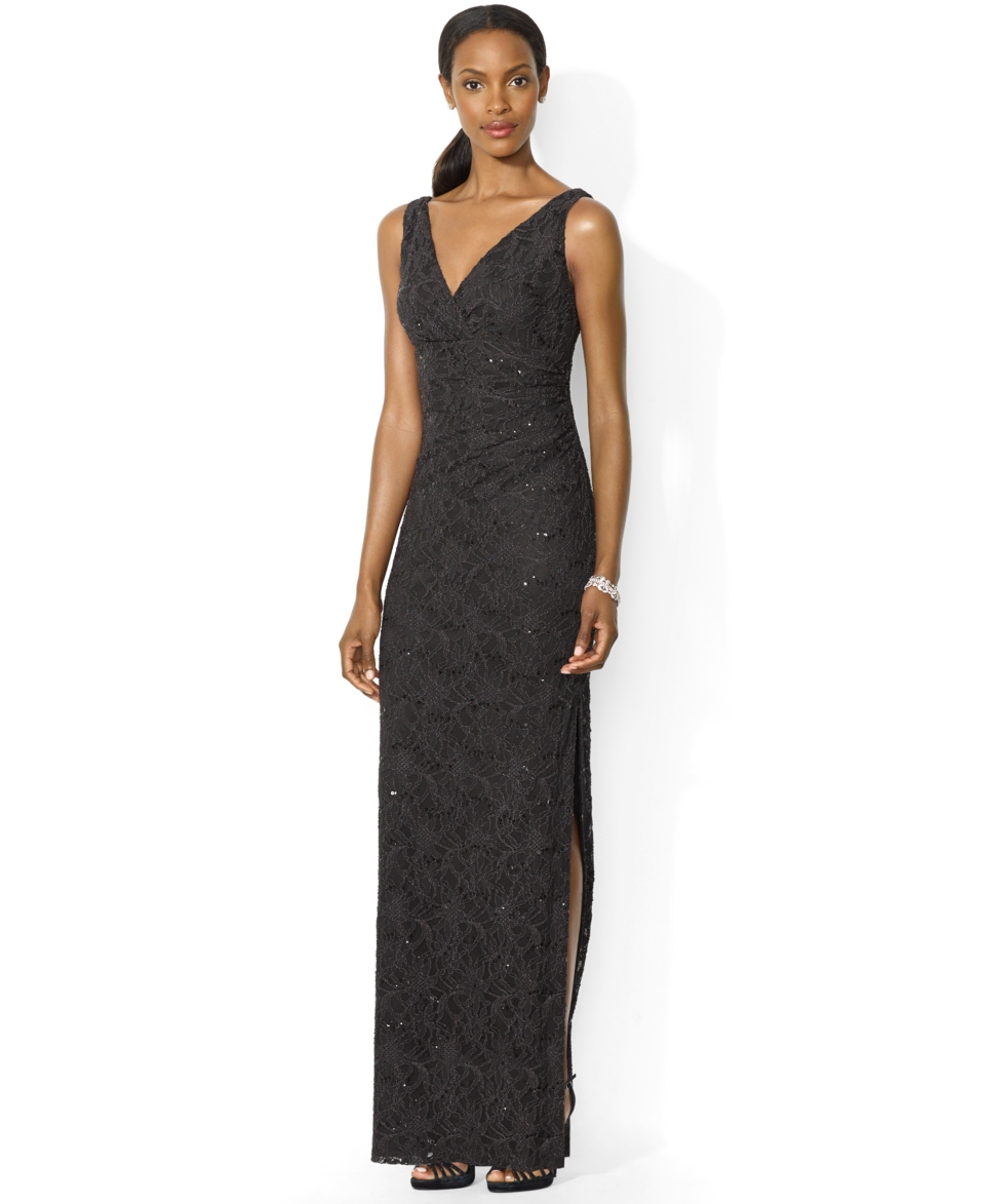 Lauren Ralph Lauren Sleeveless Sequined Lace Gown   Dresses   Women