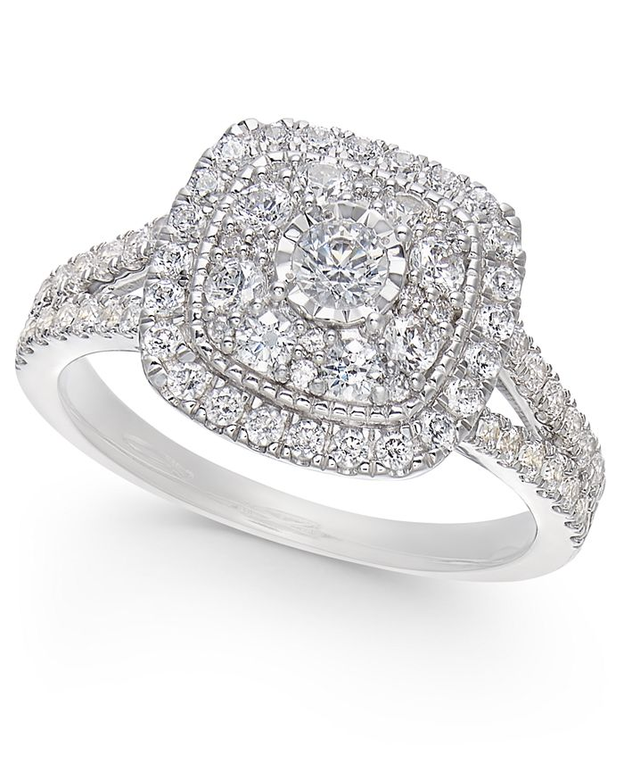 Macy's - Diamond Multi-Layer Square Halo Engagement Ring (1 ct. t.w.) in 14k White Gold