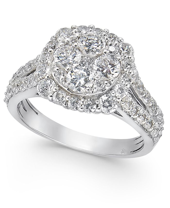 Macy's - Diamond Cluster Engagement Ring (2 ct. t.w.) in 14k Gold