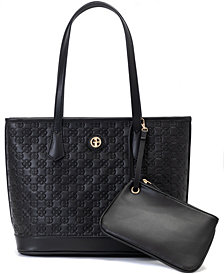 Giani Bernini Debossed Signature Tote with Wristlet, Created for Macy's