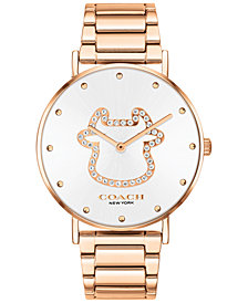 COACH Women's Perry Rose Gold-Tone Stainless Steel Bracelet Watch 36mm