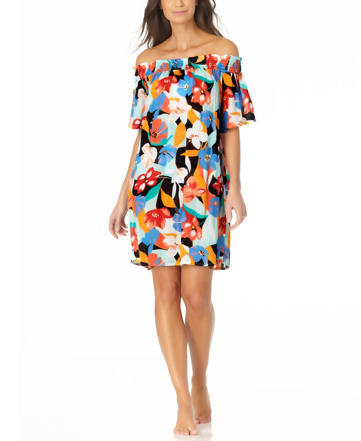 Anne Cole Smocked Off the Shoulder Cover Up Dress & Reviews - Swimsuits & Cover-Ups - Women - Macy's