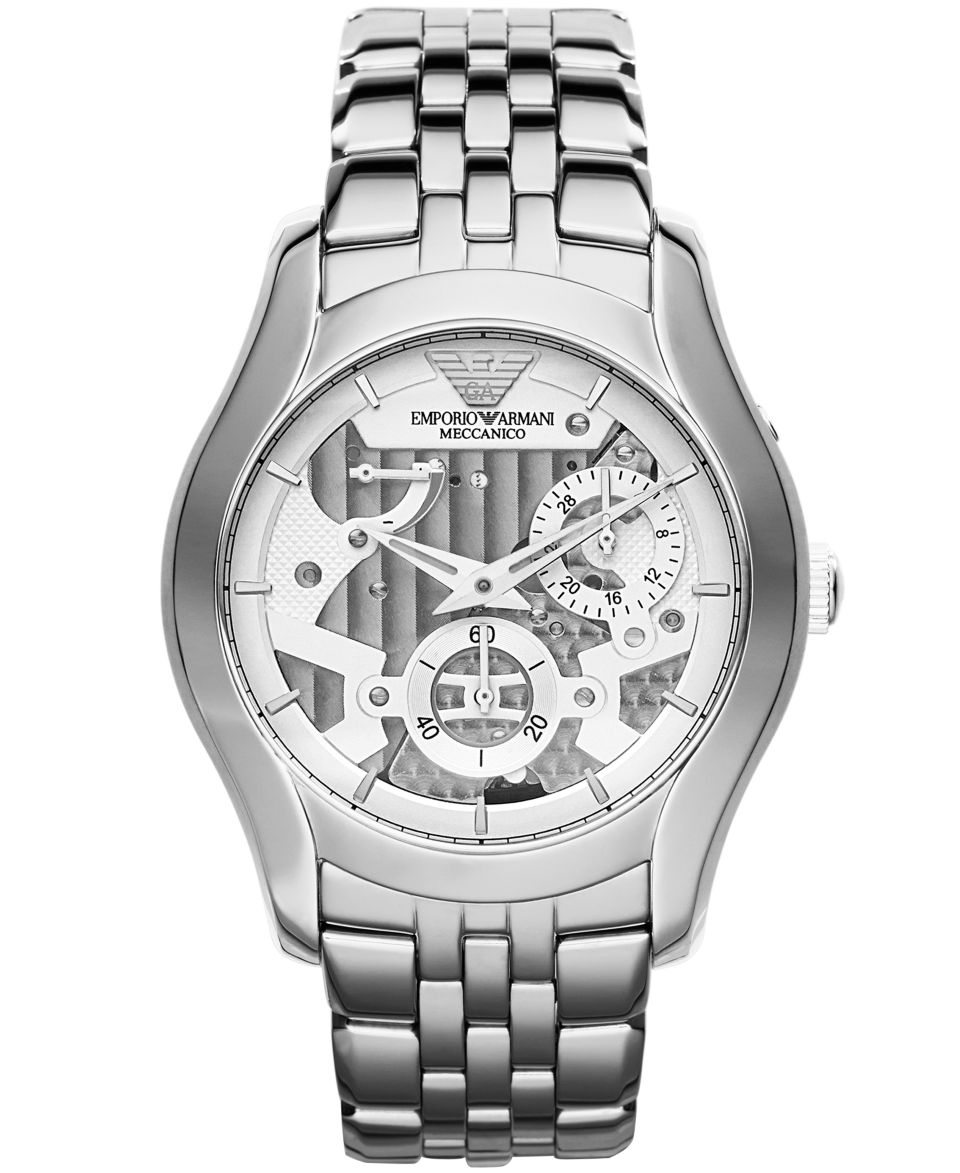 Emporio Armani Watch, Mens Automatic Meccanico Stainless Steel Bracelet 43mm AR4663   Watches   Jewelry & Watches