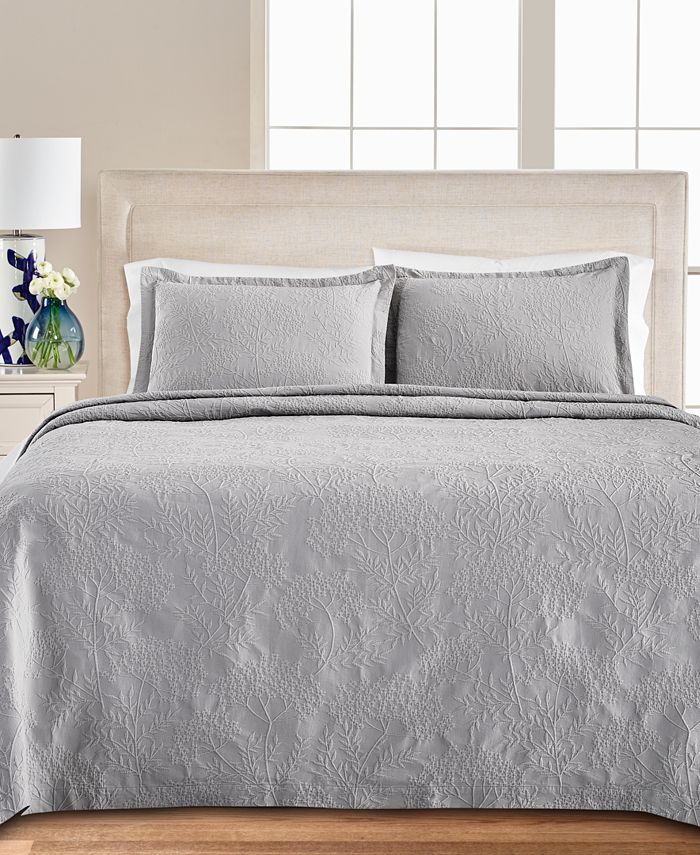 Martha Stewart Collection - Floral Matelasse 100% Cotton Queen Bedspread, Created for Macy's