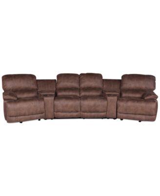 Jedd fabric 6 piece power reclining sectional sofa 2 for Macy s reclining sectional sofa