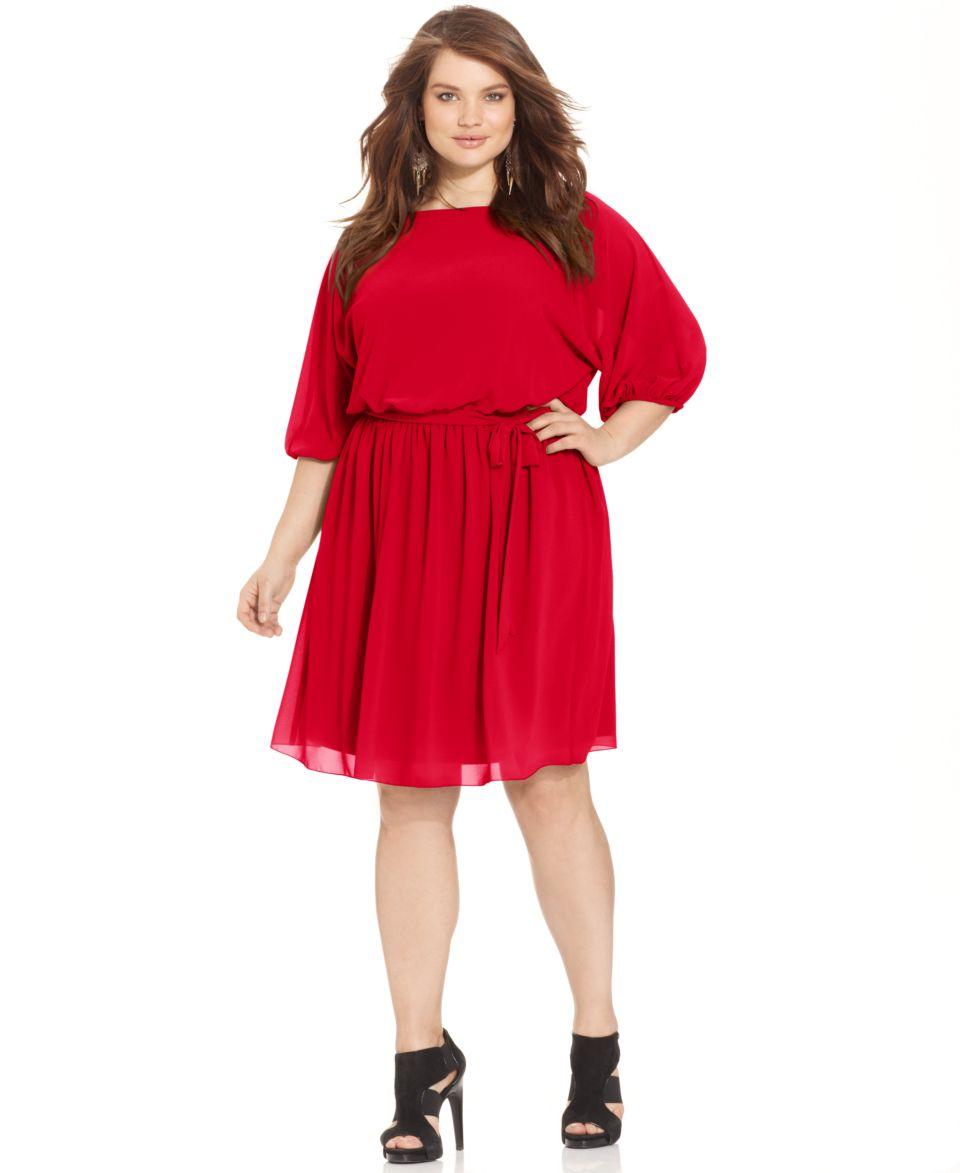 Jessica Howard Plus Size Dress, Short Split Sleeve Belted Sequin Lace Blouson   Dresses   Plus Sizes