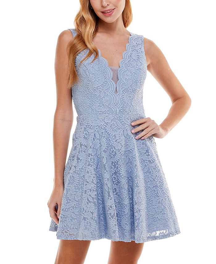 City Studios - Juniors' V-Neck Glitter Lace Dress