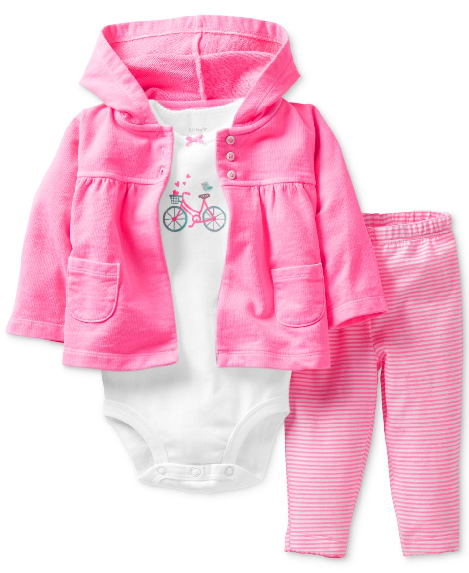 Carters Baby Girls 3 Piece Bodysuit, Ruffled Top & Leggings Set   Kids