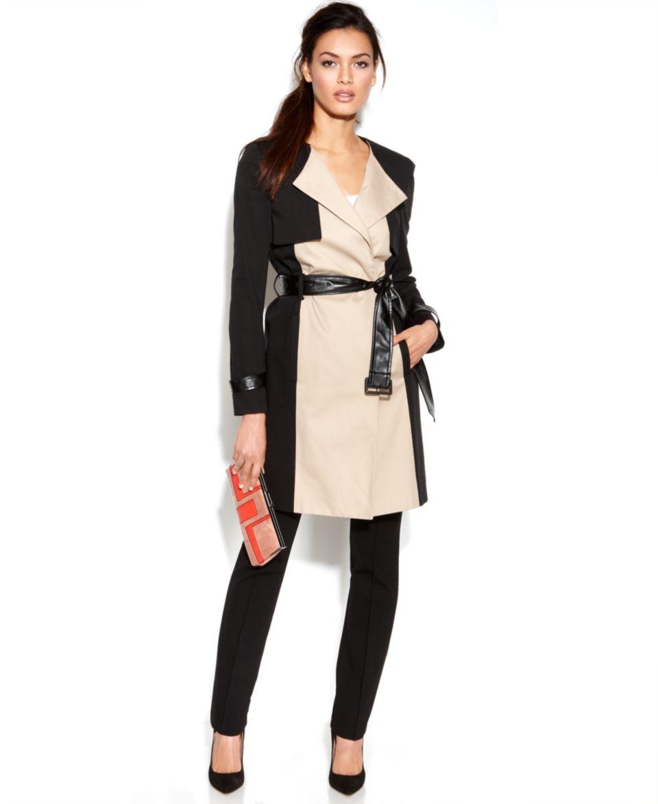 MICHAEL Michael Kors Hooded Faux Leather Mixed Media Trench Coat   Coats   Women