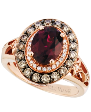 Le Vian Raspberry Rhodolite Garnet (2 ct. t.w.) and Diamond (3/4 ct. t.w.) Ring in 14k Strawberry Rose Gold, Only at Macy's