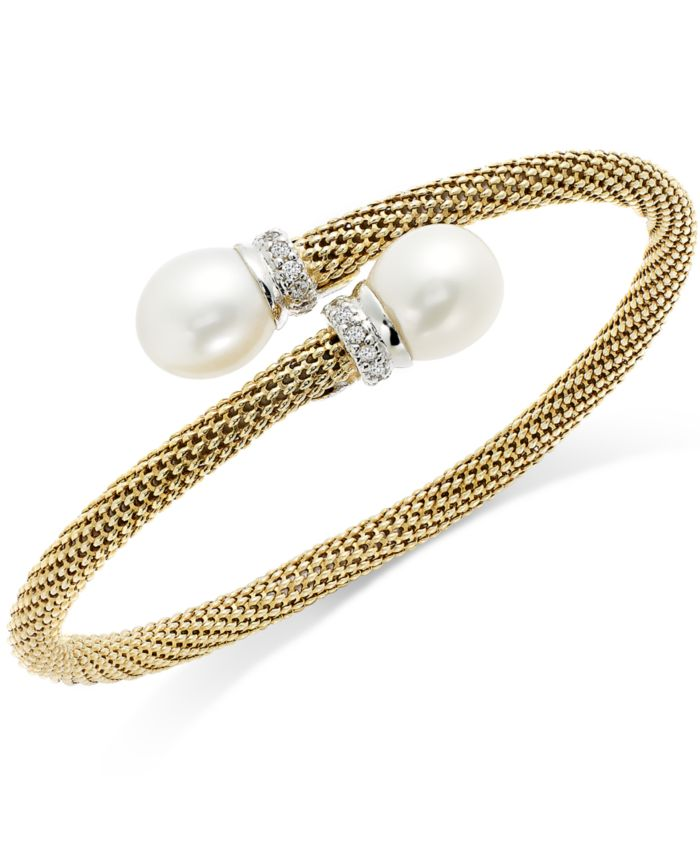 Macy's Cultured Freshwater Pearl and Cubic Zirconia Mesh Cuff Bracelet in 14k Gold over Sterling Silver (10mm) & Reviews - Bracelets - Jewelry & Watches - Macy's